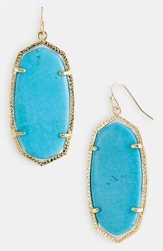 Oval Statement Earrings Turquoise