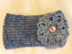 Blue Fancy earwarmer handpainted yarn knit and by housecatshats