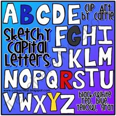 Sketchy Capital Letters Doodles from Clip Art by Carrie on TeachersNotebook.com (130 pages)  - Sketchy Capital Letters Doodles by Clip Art by Carrie
