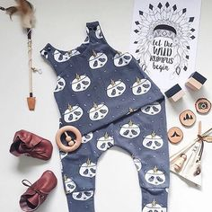 Baby boy outfit @allaboutparker for Mount Zi Panda romper, hipster baby.