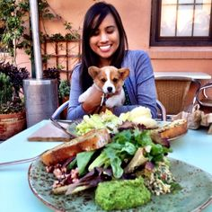 And in that moment Elise spotted Auntie Valerie's steak on the table @Tender Greens #elisethecorgi