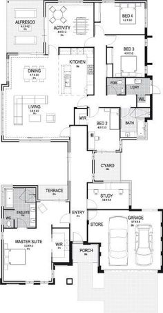Too big for us, but I like the design. Maybe just the main part of thr house without the master and that ridiculously long entryway hallway. Modern House Floor Plans, Home Design Floor Plans, Best House Plans, Dream House Plans, Small House Plans, 6 Bedroom House Plans, House Rooms, Pool House Designs, Model House Plan