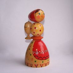 Vintage Wooden Toy Doll. Folk Art Hand Painted by RarityFromAfar, $19.50