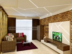 End to end stone cladded TV Unit, with stunning false ceiling.. #bonito.in
