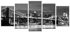 [Framed] Broooklyn Bridge Night View Modern Landscape Art Canvas Print Decor #WiecoArt