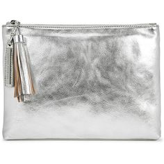 Loeffler Randall Silver Leather Clutch ($275) ❤ liked on Polyvore featuring bags, handbags, clutches, loeffler randall handbags, leather handbags, tassel clutches, silver leather handbags and white clutches