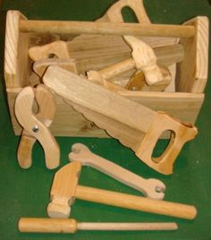 Woodworking For Kids Fun for my little handy man - This is a fun set of toy tools I made for the kids that come to play in my shop everyday. My shop has become a communal play area. I am also getting some pra. Kids Woodworking Projects, Woodworking Toys, Woodworking Techniques, Diy Wood Projects, Wood Crafts, Woodworking Classes, Intarsia Woodworking, Woodworking Basics, Woodworking Patterns
