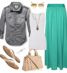 Great style I found on Polyvore! Love the grey denim with this skirt!!