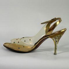 "~Vintage Lucite ""Life Stride"" Jewelled Slingback Evening Shoes 1950s~"
