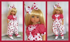 """Romper & hair bow for Dianna Effner's 13"""" little Darling. a pretty little gingham & apple print romper that looks like a two piece but is actually one so easy to get on & off. made from lovely 100% cotton fabric. 