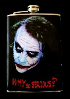 """Batman """"Why So Serious"""" HIP Flask Stainless Steel 8oz FW1 by Master Price. $12.99. Classic design. 8 fluid oz stainless steel hip flask with hinged lid. This Flask is designed with Durable, high quality, water proof VINYL-not with flimsy paper like other flasks. Flask will arrive in an individual Box ready to be gift wrapped. Please ask all questions before bidding. Directions for use: Your stainless Steel flask is special designed to carry alcoholic drink..."""