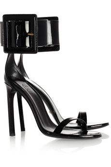 GUCCI Buckled patent-leather sandals