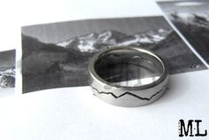 Custom Mountain Range Ring, Mountaineers Wedding Band, Handmade from Recycled Metal by BentMLjewelry  Montana skyline.....