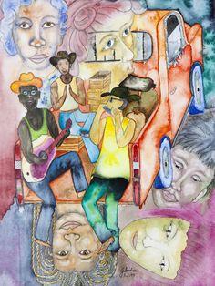 Die Arbeit ist getan. Junge Leute fahren auf einem alten Pickup nach Hause. Sie machen Musik, singen und traeumen von schoenen Frauen. Expressionistisches Aquarell 33 x 48 cm Painting, America, Beautiful Women, Watercolor, Guys, Music, Painting Art, Paintings, Paint