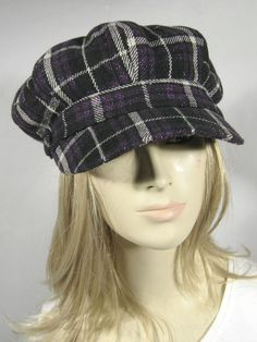 822be7f9714 NEW Newsboy Hats One Size Plaid Purple Stylish Caps 6 Panels Cabbie Golf  NWT  CCCollection