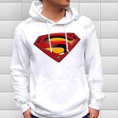 Hooded Hoody Hoodie Sweater Sweatshirt Coat with Superman Pattern for Boy Girl - White NDD-57352