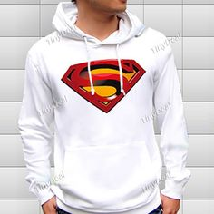 Hooded Hoodie with Superman Pattern for Boy / Girl - White NDD-57352 - TinyDeal