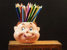 Vintage Ceramic Sugar Jar/Bowl Freckle Face Little Girl Head Vase Pencil Holder Dish Mid Century Planter Happy Face Pot Kitsch Decor by Misinterpreted on etsy.