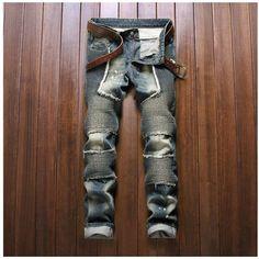 59.89$  Buy here - http://ali5sr.worldwells.pw/go.php?t=32677369620 - 2016 Men Locomotive Fashion Pencil Jeans Masculina Casual Skinny Patchwork Brand Denim Men's Slim Rock Biker Ripped Jeans Pants 59.89$