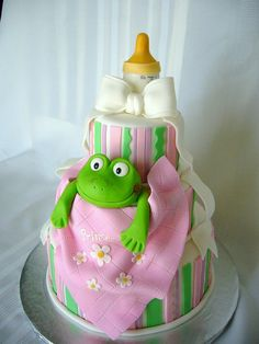 princess and the frog baby shower cake - **I'd do a tiara on top, instead of a bottle.**