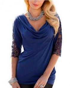 Plus size t shirt for women plain lace sleeve t shirts cowl neck design