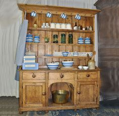Welsh dresser; I had wanted one for decades then finally found one, reasonably priced, at Salvation Army thrift store.  YES!!!
