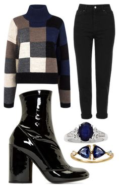 """""""Navy And Black"""" by gracefully-artistic on Polyvore featuring Current/Elliott, Topshop, Marc Jacobs and WWAKE"""