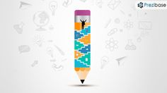 Creative 3D pencil with stairs success concept prezi presentation template