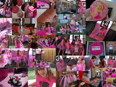 """What a glamorous party this was for my little Diva. Barbie decorations, dress up station (including handmade tutu's and personalized flip flops), Barbie """"spa"""", photo shoot, pin the bow on Barbies pony tail and Barbie pinata. The night ended with an out door movie with pink lemonade & pink popcorn!!"""