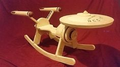 Here is a rocking chair that makes a great gift for Star Trek fans. The Star Trek Enterprise Rocker is a handmade rocking chair for your children. Star Trek Enterprise, Star Trek Starships, Vaisseau Star Trek, Wooden Stars, Star Trek Ships, Toy Art, Wood Toys, Woodworking Projects, Plywood Projects