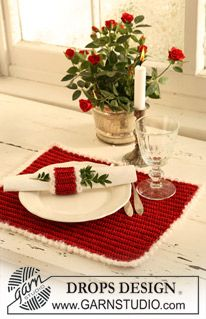 "Crochet DROPS place mat and serviette ring for your Christmas lunch in ""Cotton Viscose"" and ""Symphony"". ~ DROPS Design. FREE PATTERN 5/14."