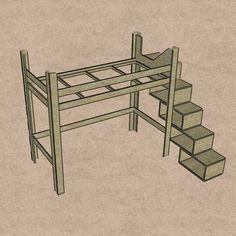 Hochbett - Treppenregal Anleitung                              …