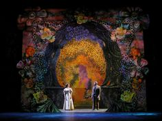 "This is the Secret Garden set. There are several main elements in this set. First, the color of the flowers and background. Second, the way the texture makes the flowers come to life, and the tile-like background looks ""shattered."" Lastly, the lighting and how it reflects the shadows of the actors and actresses. Shape is also really used, but those three stood out to me the most."