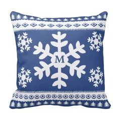 Nordic Blue snowflake and tree pattern throw pillows with personalized monogram. #Christmas