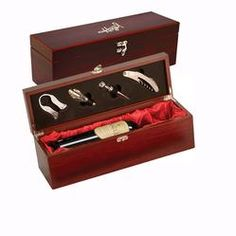 4 PC Single Wine Box with laser etched & color filled logo.  As low as $22.40 each - #Promotional Products #Corporate Gift