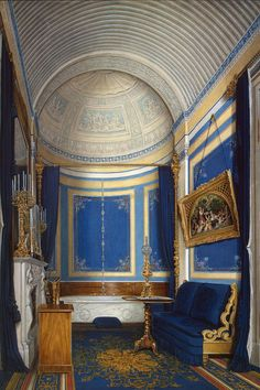 Interiors of the Winter Palace. The Bathroom of Grand Princess Maria Alexandrovna by Edward Petrovich Hau - Architecture, Interiors Drawings from Hermitage Museum Imperial Palace, Imperial Russia, Palace Interior, Interior And Exterior, Winter Palace, Decoration Bedroom, Hermitage Museum, Second Empire, Le Palais