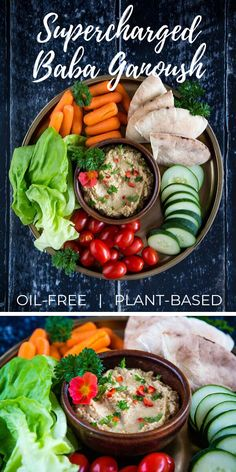 Supercharged Baba Ganoush (Eggplant Dip with Chickpeas): This supercharged baba ganoush recipe is not your standard eggplant dip. Enriched with chickpeas and vegan yogurt, it makes a delicious plant-based appetizer or sandwich filling. Vegan Sauces, Vegan Recipes, Chickpea Recipes, Lebanese Recipes, Vegan Foods, Dip Recipes, Vegan Yogurt, Vegan Hummus, Fat Free Vegan