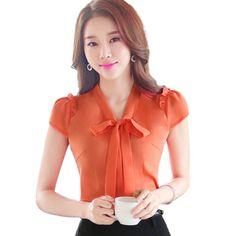 2016 moda de verano ropa OL elegante arco blusa OL delgado Formal de la corto manga más tamaño para mujer de la oficina mujer S-4XL