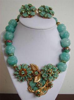 Stanley Hagler Mint Green Aventurine Pendant Necklace Earrings Set   eBay