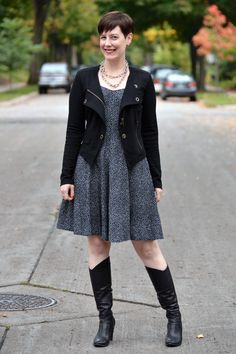 Already Pretty outfit featuring black CAbi moto jacket, thrifted crossback dress, black Coclico boots, chunky chain necklace