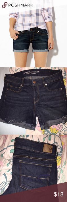 American eagle midi denim shorts Brand new, worn once. Too tight on me i would say it best fits a 12. These are one of the most popular shorts for the summer time! Looks great w/ everything! American Eagle Outfitters Shorts Jean Shorts