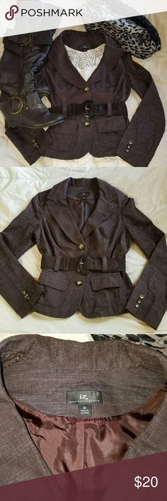 Beautiful brown blazer with belt. This blazer is so pretty. It was too small for me (I'm a large). Euc Iz Byer Jackets & Coats Blazers