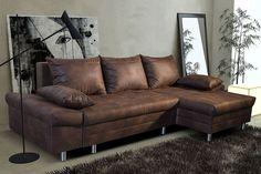 Canapé d'angle convertible en tissu marron vieilli ULTIMO, avec coffre de rangement