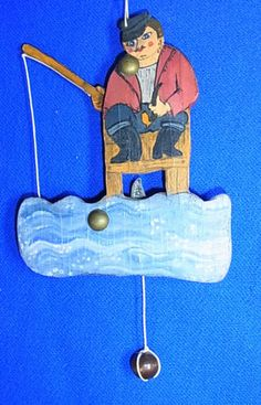 Old Vintage German Wood Carved Folk Art Jumping Jack Fisherman #AB1