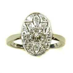 Très Jolie Deco Diamond Cluster Ring: What a charming design..all pierced and set with rose-cut diamonds around a central shimmery hand-cut Diamond. All set in 18ct white gold with French marks.