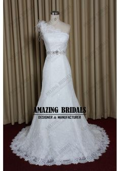 Chic one shoulder fit flare beaded lace wedding dresse wedding gowns/lace wedding dress