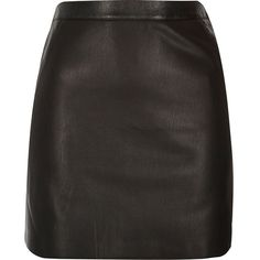 River Island Black leather look mini skirt ($37) ❤ liked on Polyvore featuring skirts, mini skirts, bottoms, black, short mini skirts, tall skirts, faux leather skirt, vegan leather skirt and fake leather skirt