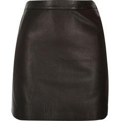 River Island Black leather look mini skirt ($37) ❤ liked on Polyvore featuring skirts, mini skirts, bottoms, black, short mini skirts, tall skirts, faux leather skirt, vegan leather skirt and fake leather skirt