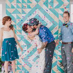 A geometric backdrop in a gorgeous shade of blue.