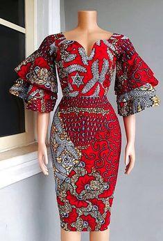 African Print dress, Red Ankara Dress, African Clothing, African Clothing for Women, African Dresses